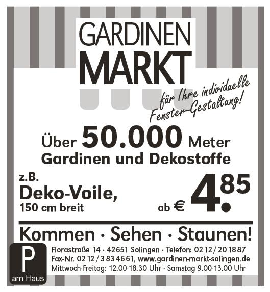 Raumausstatter – Gardinen Markt / Cronenberger Anzeiger