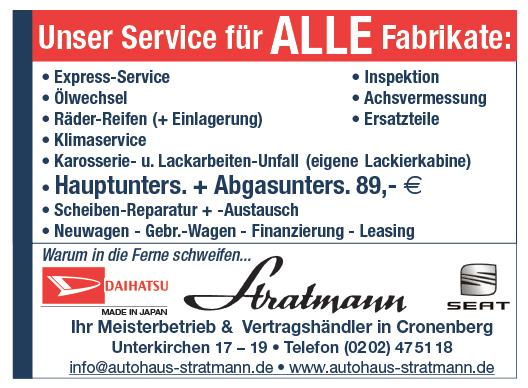 Auto – Autohaus Stratmann / Cronenberger Anzeiger